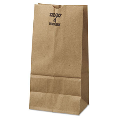 4# Paper Bag, 50lb Kraft, Brown, 5 x 3 1/3 x 9 3/4, 500/Pack