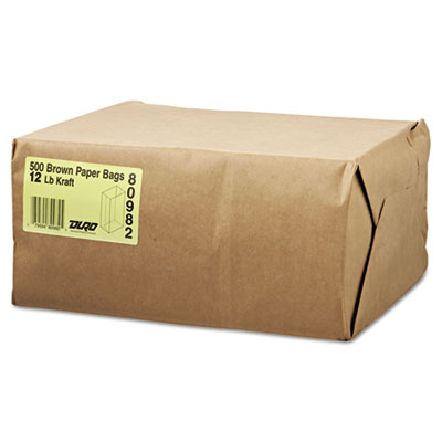 12# Paper Bag, 40lb Kraft, Brown, 7 1/16 x 4 1/2 x 13 3/4, 500/P