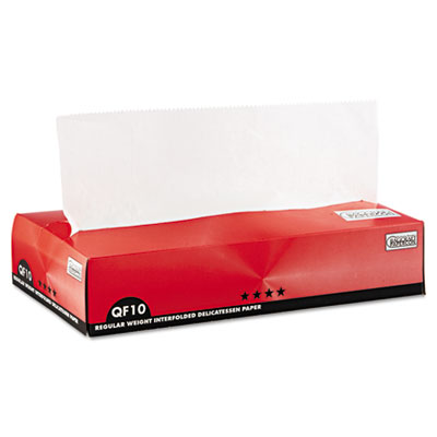 QF10 Interfolded Dry Wax Paper, 10 x 10 1/4, White, 500/Box, 12