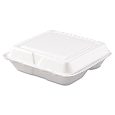 Carryout Food Container, Foam, 3-Comp, White, 8 x 7 1/2 x 2 3/10