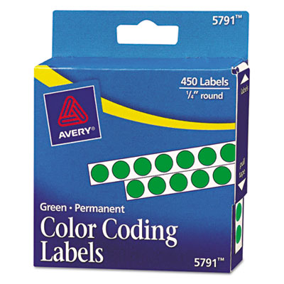 Permanent Self-Adhesive Color-Coding Labels, 1/4in dia, Green, 4