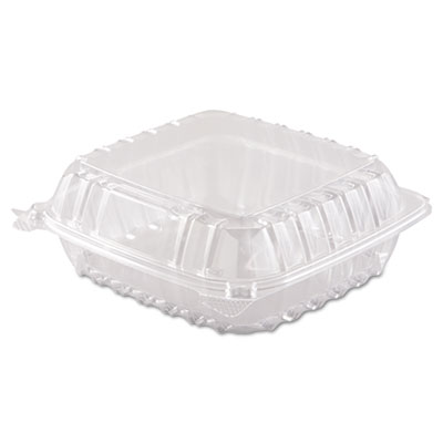 ClearSeal Hinged-Lid Plastic Containers, 8 3/10 x 8 3/10 x 3, Cl