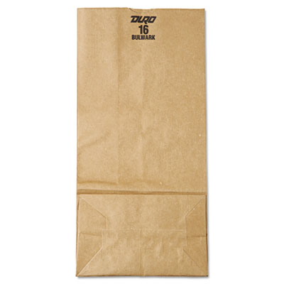 16# Paper Bag, 57lb Kraft, Brown, 7 3/4 x 4 13/16 x 16, 500/Bund