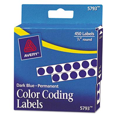 Permanent Self-Adhesive Color-Coding Labels, 1/4in dia, Dark Blu