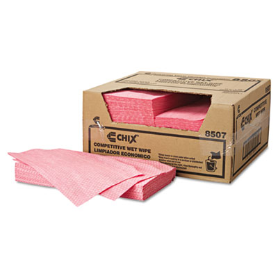 Wet Wipes, 13 1/2 x 24, White/Pink, 200/Carton