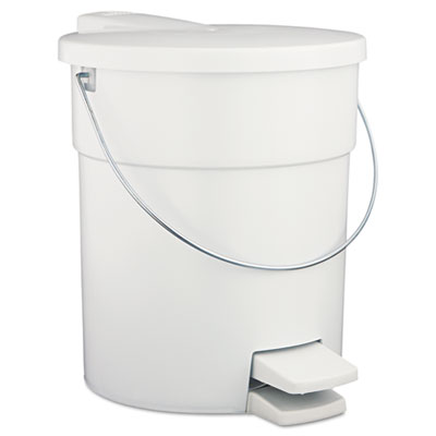 Indoor Utility Step-On Waste Container, Round, Plastic, 4.5gal,