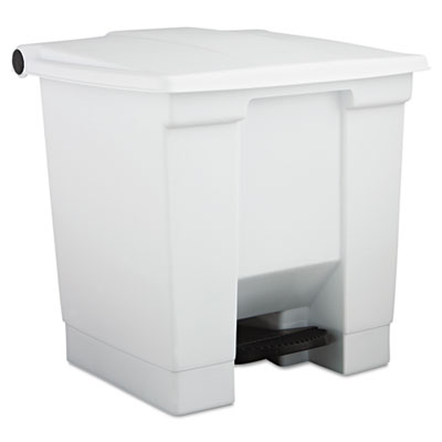 Indoor Utility Step-On Waste Container, Plastic, 8gal, White