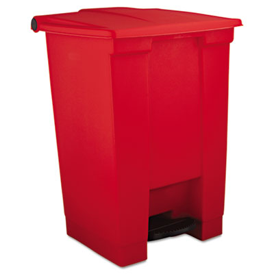 Indoor Utility Step-On Waste Container, Square, Plastic, 12gal,