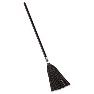 "Lobby Pro Synthetic-Fill Broom, 37 1/2"" Handle, Black"