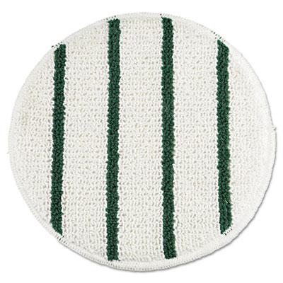 """Low Profile Scrub-Strip Carpet Bonnet, 19"""" dia, White/Green"""