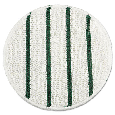 """Low Profile Scrub-Strip Carpet Bonnet, 21"""" dia, White/Green"""