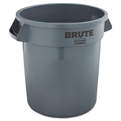 Brute Refuse Container, Round, Plastic, 10gal, Gray