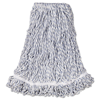 "Web Foot Finish Mop, Cotton/Synthetic, White, Large, 1"" White He"