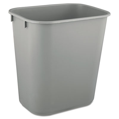 Deskside Plastic Wastebasket, Rectangular, 3.5gal, Gray