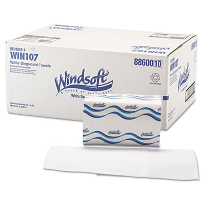 Singlefold Paper Towels, 1-Ply, 9 9/20 x 9, White, 250/Pack, 16