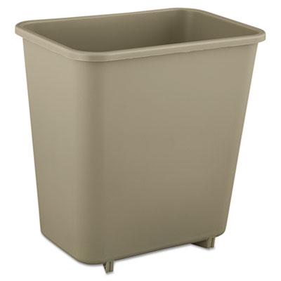 Deskside Plastic Wastebasket, Rectangular, 2gal, Beige