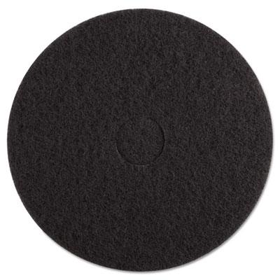 "Standard Black Floor Pads, 17"" dia, Black, 5/Carton"