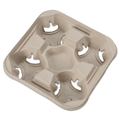 StrongHolder Molded Fiber Cup Trays, 8-32oz, Four Cups, 300/Cart