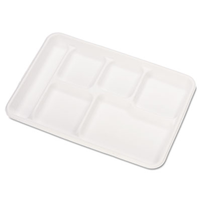 Heavy-Weight Molded Fiber Cafeteria Trays, 6-Comp, 8 1/2 x 12 1/