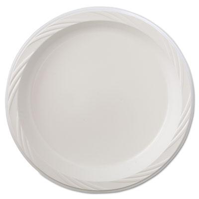 """Lightweight Plastic Dinnerware, Plate, 9"""" dia, White, 125/Pack,"""