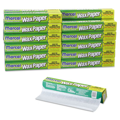 "Kitchen Charm Wax Paper Roll, 11 9/10"" x 75ft, White, 12/Carton"
