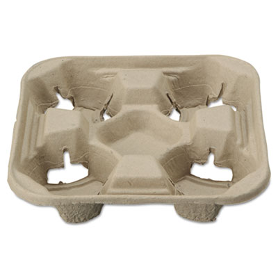 StrongHolder Molded Fiber Cup Trays, 8-22oz, Four Cups, 200/Cart