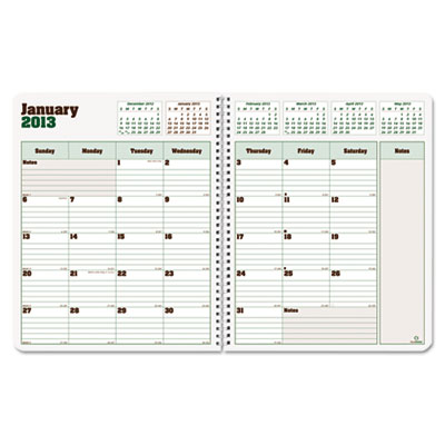 Blueline DuraGlobe Monthly Planner, Hard Cover, 11 x 8-1/2, Blac