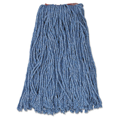 "Cotton/Synthetic Cut-End Blend Mop Head, 16oz, 1"" Band, Blue, 12"