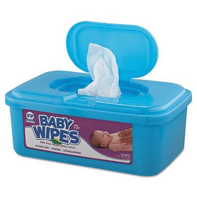 Baby Wipes Tub, White, 80/Tub, 12/Carton