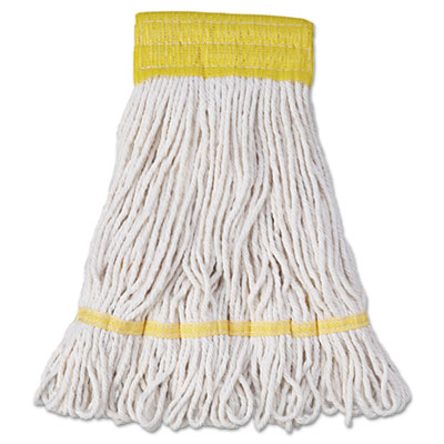 Mop Head, Super Loop Head, Cotton/Synthetic Fiber, Small, White,