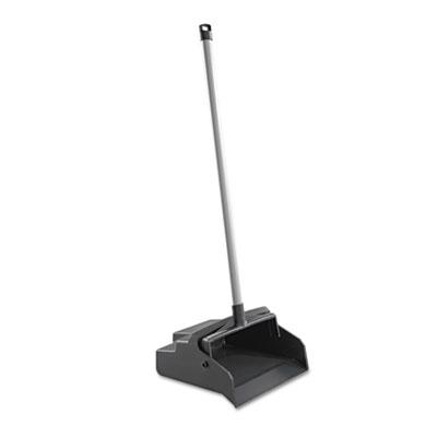 LobbyMaster Plastic Dust Pan, 12w x 37h, Black Pan/White Handle,