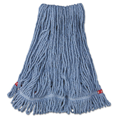 Web Foot Wet Mop Head, Shrinkless, Cotton/Synthetic, Blue, Mediu