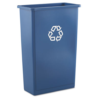 Slim Jim Recycling Container, Rectangular, Plastic, 23gal, Blue