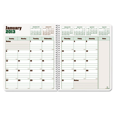 Blueline DuraGlobe Monthly Planner, Hard Cover, 8-7/8 x 7-1/8, B