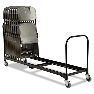 "Folding Chair Cart, 25-Chair Capacity, 21"" x 6 ft, Black"