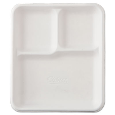 Heavy-Weight Molded Fiber Cafeteria Trays, 3-Comp, 8 1/4 x 9 1/2