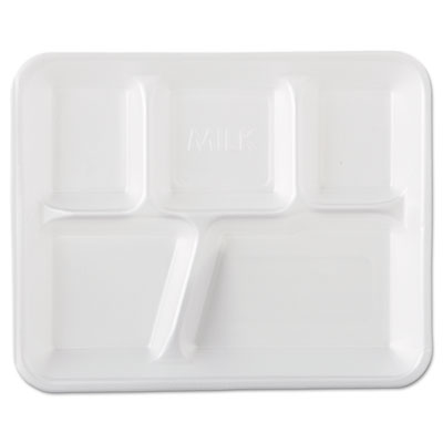 Foam School Trays, 5-Comp, 10 2/5 x 8 2/5 x 1 1/4, White, 500/Ca