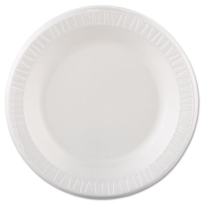 "Laminated Foam Dinnerware, Plate, 10 1/4"" dia, White, 125/Pack,"