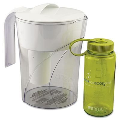 Classic Pour-Through Pitcher, 48oz, w/Bonus 16oz Water Bottle
