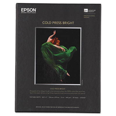 Cold Press Bright Fine Art Paper, 8-1/2 x 11, Bright White, 25 S