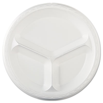 "Elite Laminated Foam Dinnerware, Plate, 3-Comp, 10 1/4"" dia, Whi"