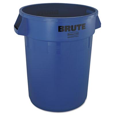 Brute Refuse Container, Round, Plastic, 32 gal, Blue