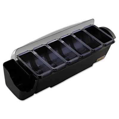 The Dome Bar Garnish & Straw/Stick Dispenser, 8-Comp, 3qt, Black