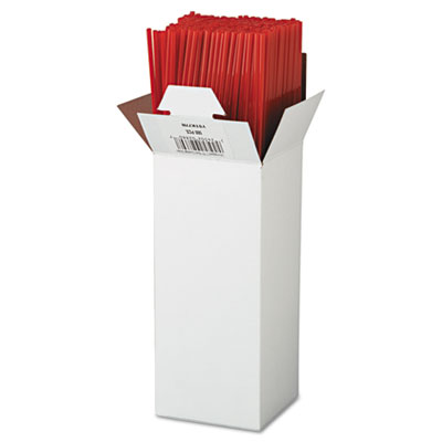 "Unwrapped Cocktail Straws, 7 3.4"", Plastic, Red, 6000/Carton"