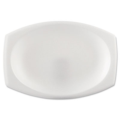 "Foam Dinnerware, Oval Platter, 6 3/4"" x 9 4/5"", White, 125/Pack,"