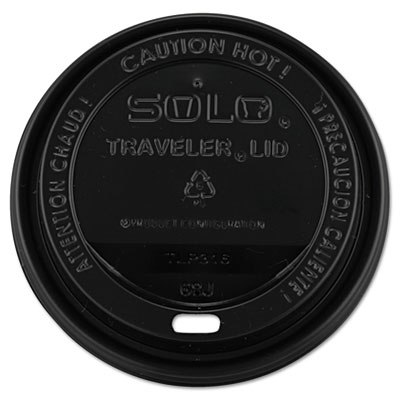 Traveler Drink-Thru Lids, 10-24oz Cups, Black, 100/Sleeve, 10 Sl