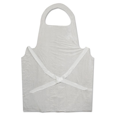Disposable Apron, Polypropylene, White, 100/Pack