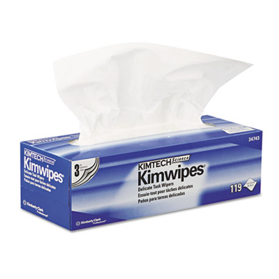 KIMWIPES Delicate Task Wipers, 3-Ply, 11 4/5 x 11 4/5, 119/Box,