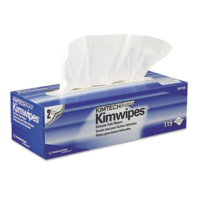 KIMWIPES Delicate Task Wipers, 2-Ply, 11 4/5 x 11 4/5, 119/Box,