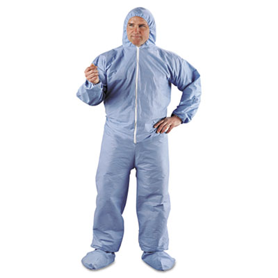 KLEENGUARD A65 Hood & Boot Flame-Resistant Coveralls, Blue, 2XL,